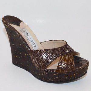 JIMMY CHOO Shimmering Wedge Sandals 37